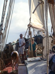crew on the deck of the tecla