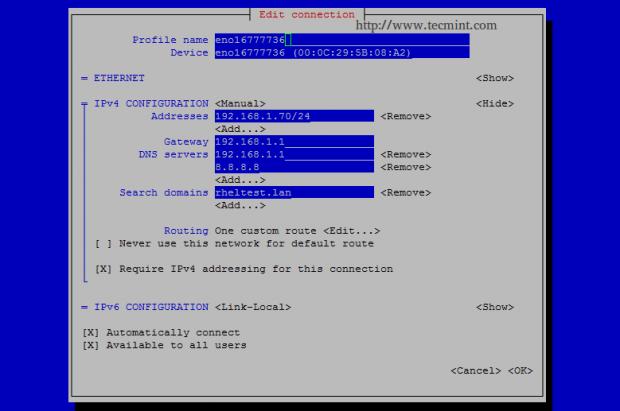 Configure Network Interface in CentOS 7