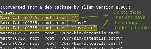 Convert .deb to Alien Version