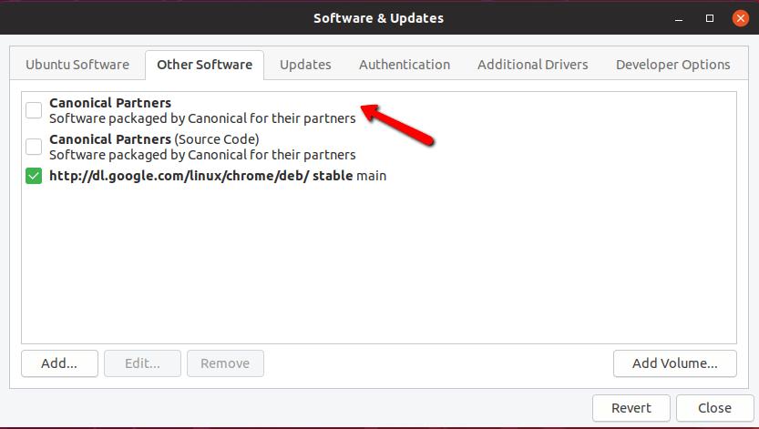 Aktivieren Sie Canonical Partners in Ubuntu