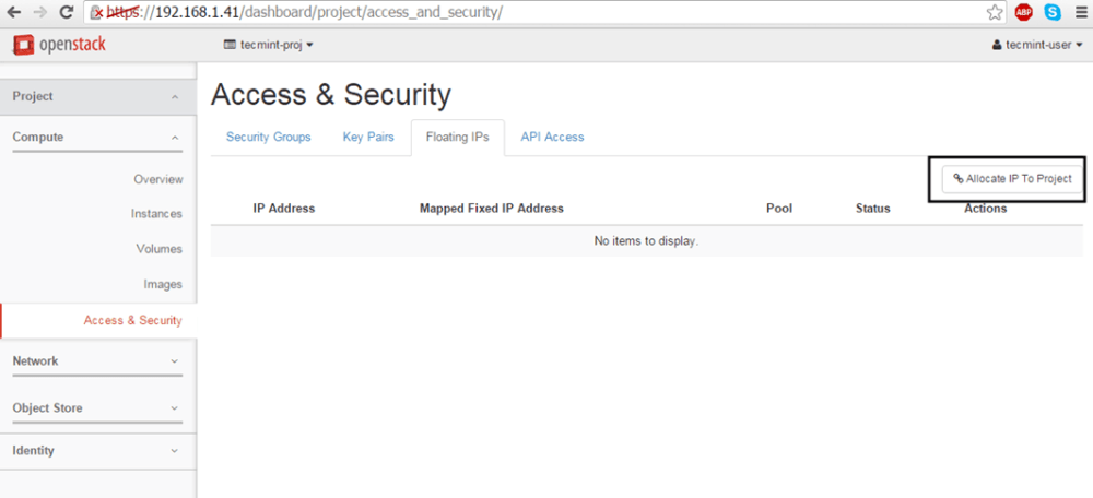 Kayan IP'yi OpenStack'te Projeye Tahsis Et