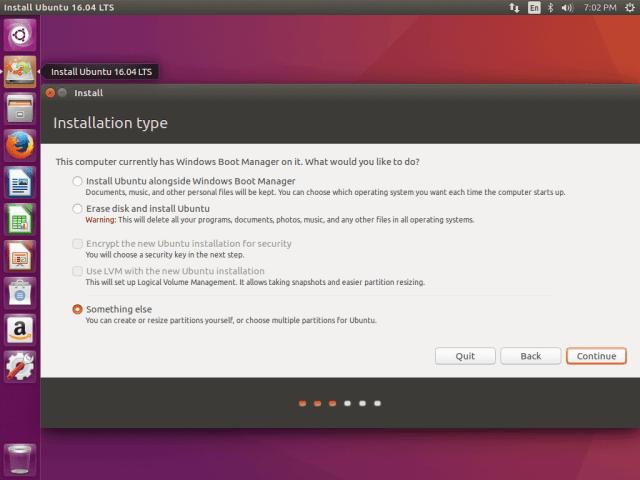 Select Ubuntu 16.04 Installation Type