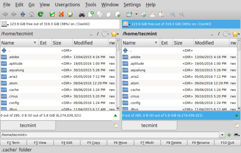 Krusader File Manager for Linux