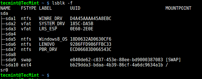 lsblk - Shows Linux Filesystem Type