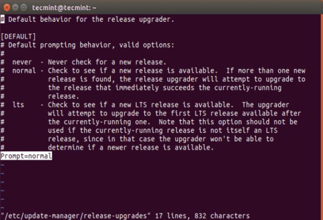 Configure Release Upgrade Options