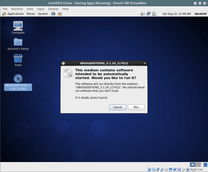 Install Guest Additions in CentOS