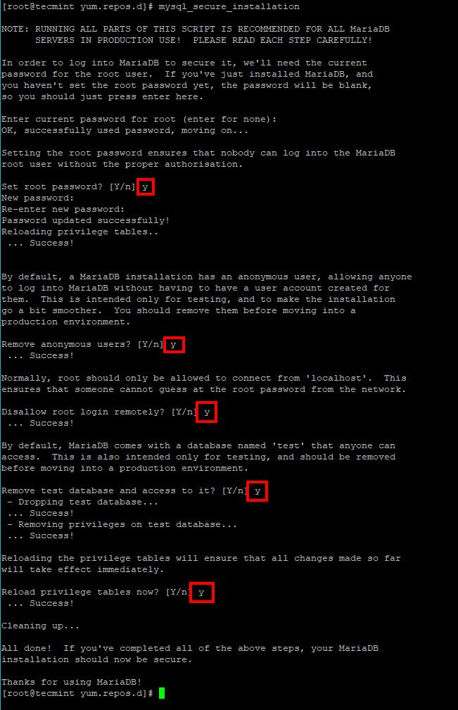 Secure MariaDB Server in RHEL 8