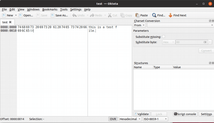 Okteta Editor for Raw Data