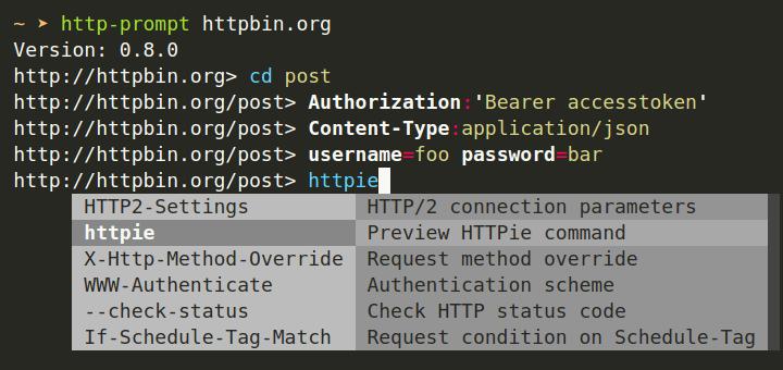 HTTP-Eingabeaufforderung - Befehlszeilen-HTTP-Client für Linux