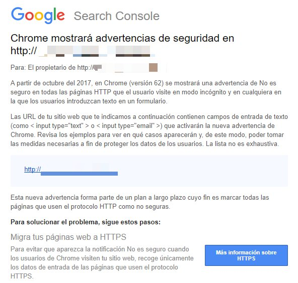 la notificacion que google envia a las webs sin https