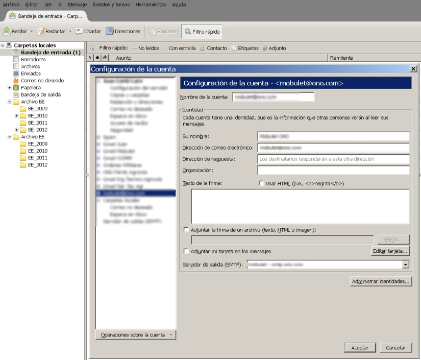 Thunderbird configuracion cuenta de correo