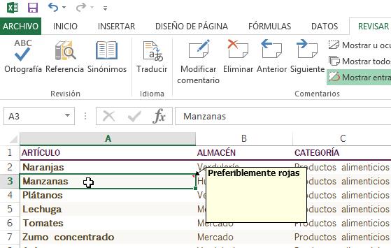 Cómo añadir comentarios en Excel - Cuadro donde añadir el comentario.
