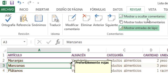 Cómo añadir comentarios en Excel - Opción para mostrar u ocultar comentarios