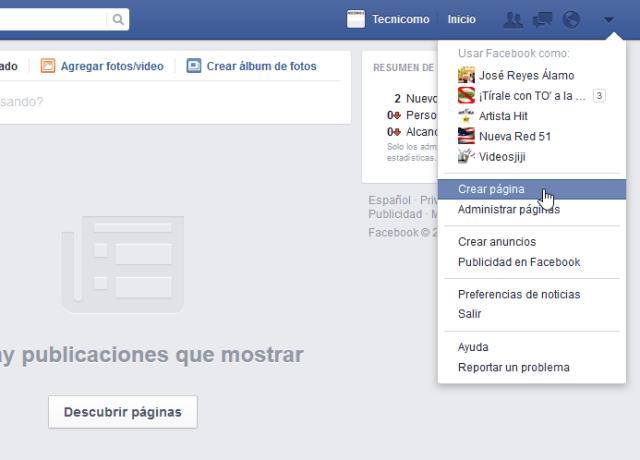Cómo crear tu propia página de Facebook - Menú de editar, opción de Crear página