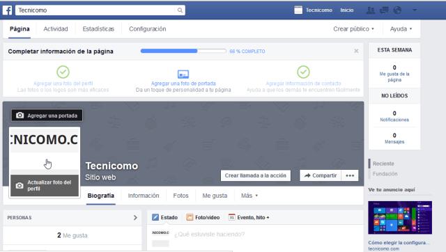 Cómo crear tu propia página de Facebook - La nueva página de Facebook creada.