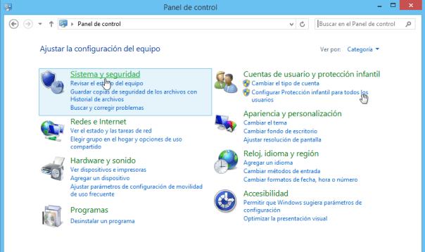 Cómo elegir la configuración de las actualizaciones de Windows - Opción de Sistema y seguridad