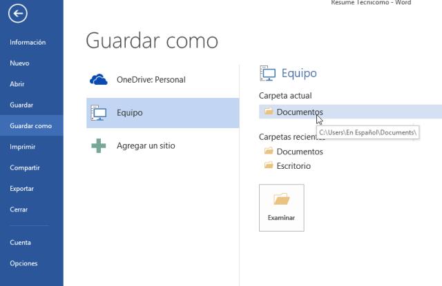 Cómo guardar un archivo de Word en formato PDF - Selecciona la carpeta o folder