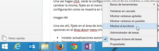 Cómo mostrar el escritorio en Window 8 - Menú de la barra de tareas.