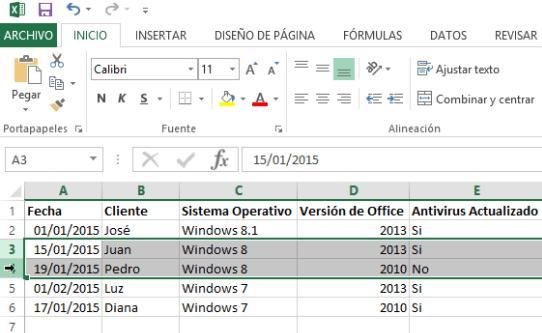 Cómo ocultar y mostrar filas en Excel - Selección de filas a ocultar.