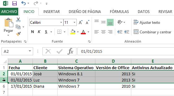 Cómo ocultar y mostrar filas en Excel - Selección de filas para mostrar.