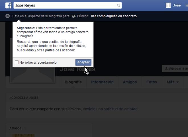 """Cómo ver tu perfil de Facebook como otra persona lo ve - Pantalla de """"Ver como..."""""""