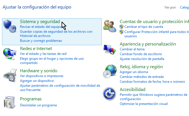 """Opción de """"Sistema y seguridad"""" en el Panel de control de Windows"""