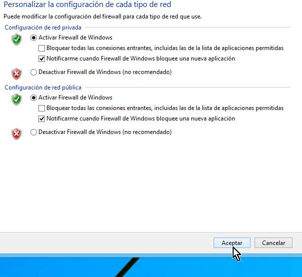 """Botón """"Aceptar"""" para activar el firewall en Windows 8"""