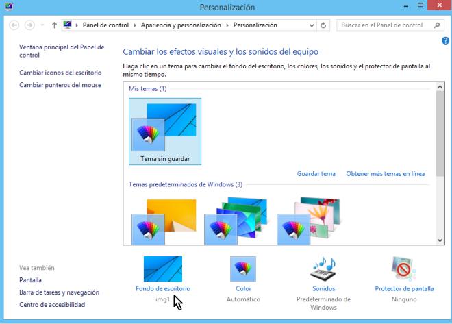 """Cómo ajustar la imagen de fondo del escritorio de Windows - Dale clic a """"Fondo de escritorio"""""""