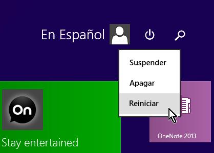 Cómo apagar o reiniciar tu computadora en Windows 8 - Opciones de apagar o reiniciar