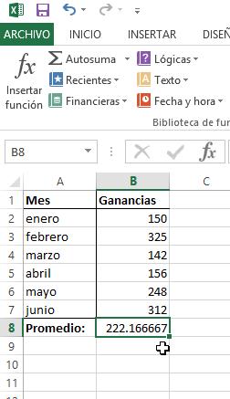 Celda de Excel con el promedio calculado