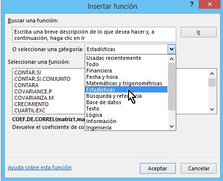 Menú de funciones en Excel por categorías