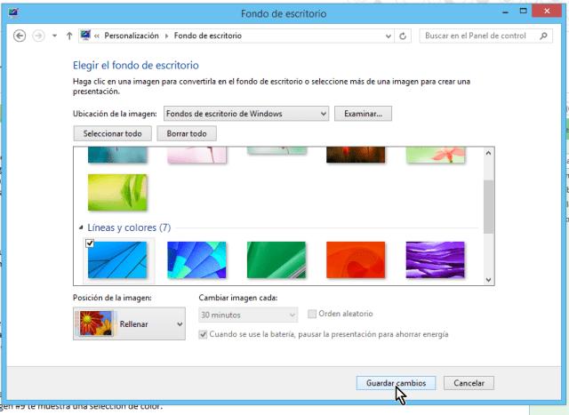 """Cómo cambiar el fondo del escritorio en Windows - Dale clic al botón """"Guardar cambios"""""""