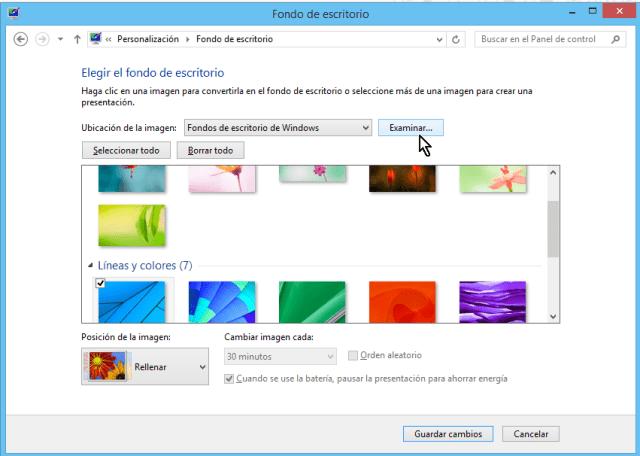 Cómo cambiar el fondo del escritorio en Windows - Dale clic al botón examinar