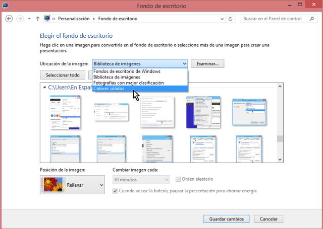 """Cómo cambiar el fondo del escritorio en Windows - Selecciona la opción """"Colores sólidos"""""""