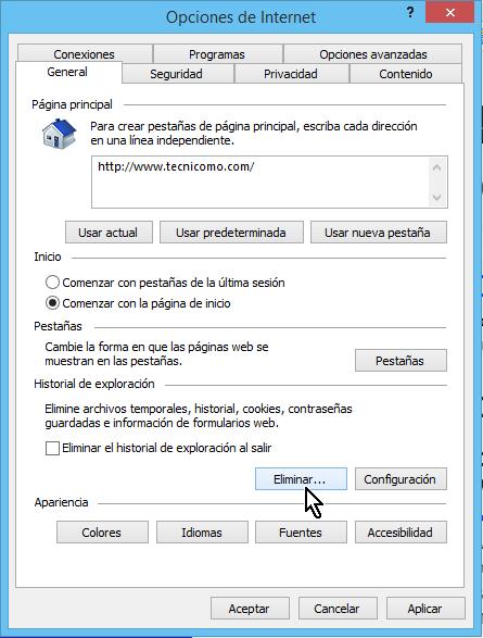 """Cómo eliminar el historial de Internet Explorer. Dale clic al botón """"Eliminar...""""."""