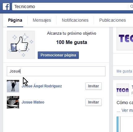 Cómo invitar a tus amigos a darle like a tu página de Facebook - Entra el nombre de tu amigo directo