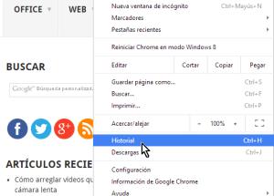Cómo borrar el historial de Google Chrome