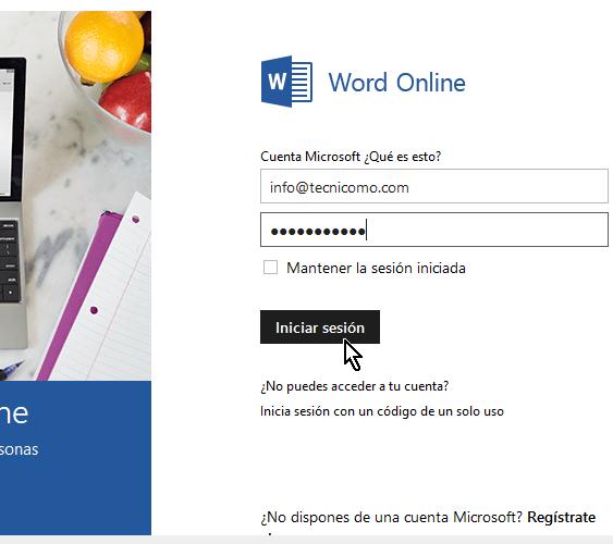 Credenciales para acceder a Microsoft Word Online