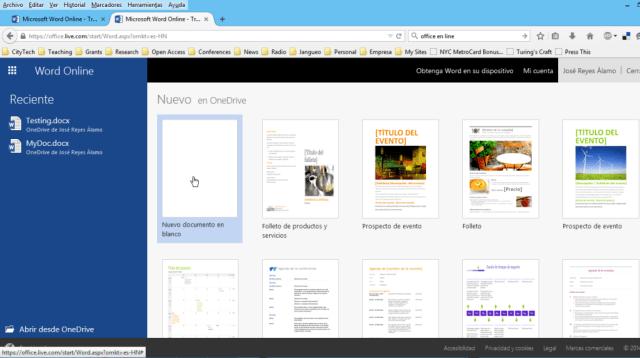 Creando un nuevo documento en blanco en Microsoft Word Online