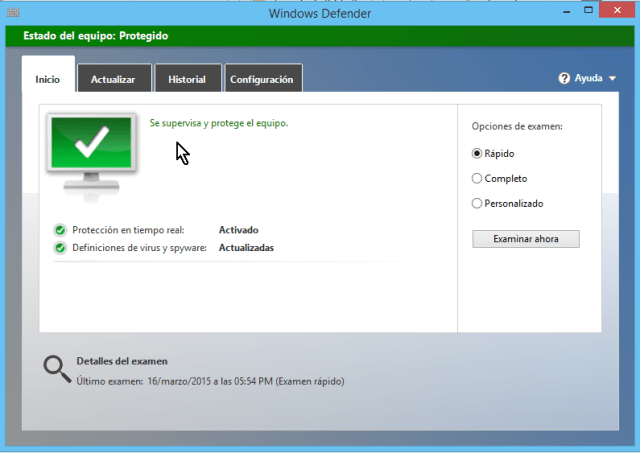 "Cómo usar el antivirus de Windows - Pantalla principal de ""Windows Defender"""
