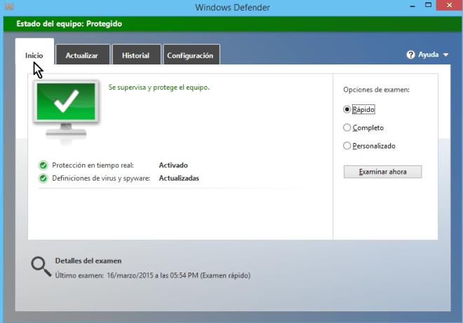 """Cómo usar el antivirus de Windows - Pestaña de """"Inicio"""" de """"Windows Defender"""""""