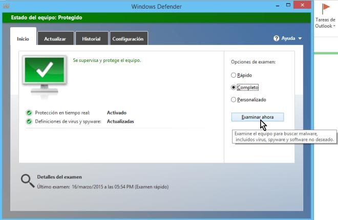 """Cómo usar el antivirus de Windows - Selecciona examen """"Completo"""""""