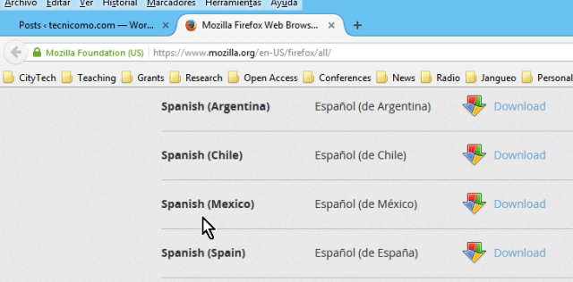 Descargas de Firefox disponibles en español