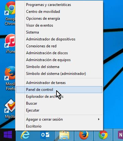 Menú para acceder el Panel del control al darle clic derecho al botón de Windows