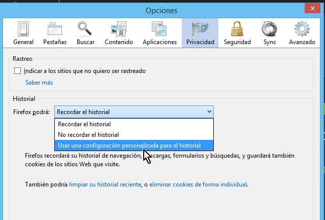 Opciones de configuración de historial en cómo borrar cookies en Firefox