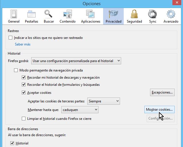 Botón de Mostrar cookies en cómo borrar cookies en Firefox