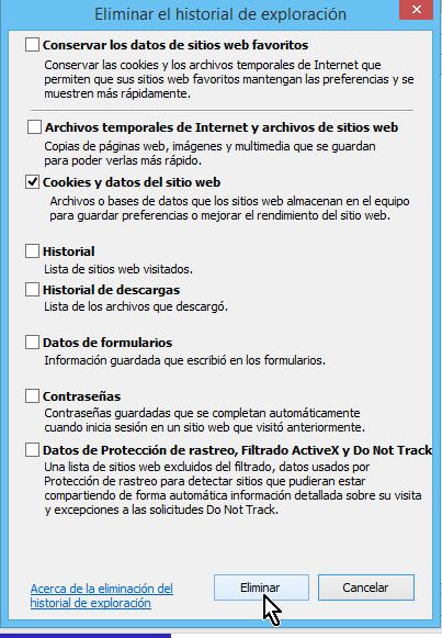 Botón para Eliminar cookies en cómo borrar cookies en Internet Explorer