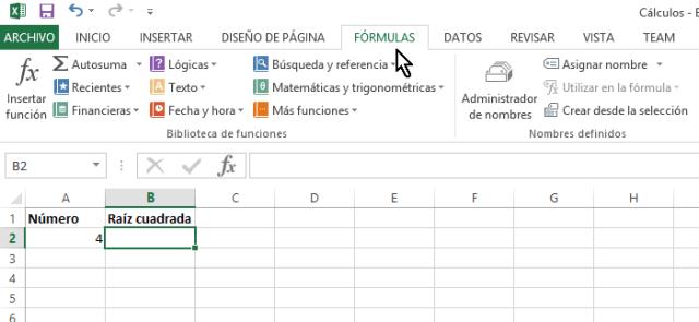 Pestaña FÓRMULAS en cómo calcular la raíz cuadrada en Excel