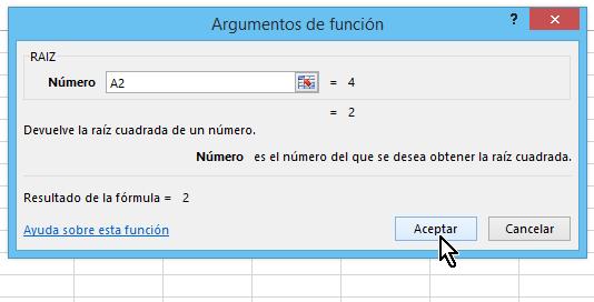 Resultados parciales y botón Aceptar en cómo calcular la raíz cuadrada en Excel