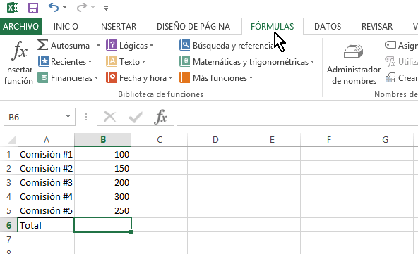 Pestaña FÓRMULAS del menú principal en cómo calcular una suma en Excel